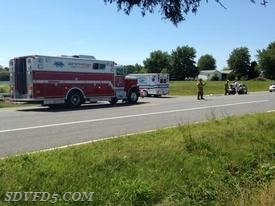 Units operating on a motor vehicle accident on Budds Creek Road
