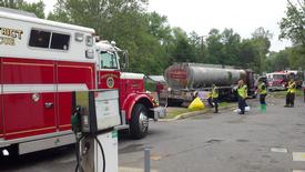 Rescue Squad 5 on the scene of the fuel spill in Clements.